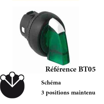 BOUTON TOURNANT A MANETTE 3 POSITIONS LUMINEUX