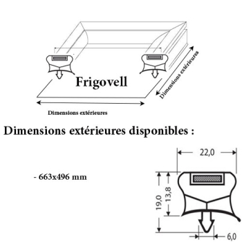 JOINT CADRE MAGNETIQUE ADAPTABLE FRIGOVELL MODELE 3