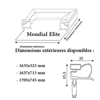 JOINT CADRE MAGNETIQUE ADAPTABLE MONDIAL ELITE MODELE 4
