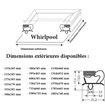 JOINT CADRE MAGNETIQUE ADAPTABLE WHIRLPOOL
