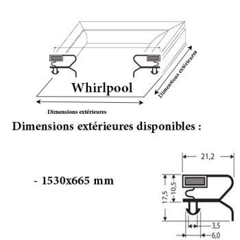 JOINT CADRE MAGNETIQUE ADAPTABLE WHIRLPOOL MODELE 2