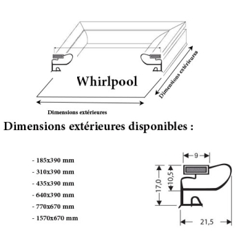 JOINT CADRE MAGNETIQUE ADAPTABLE WHIRLPOOL MODELE 3