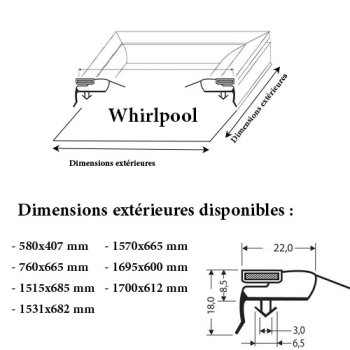 JOINT CADRE MAGNETIQUE ADAPTABLE WHIRLPOOL MODELE 4