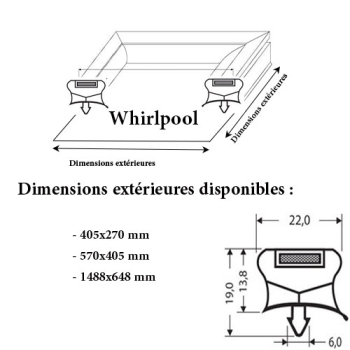 JOINT CADRE MAGNETIQUE ADAPTABLE WHIRLPOOL MODELE 5