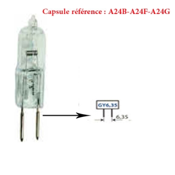 CAPSULE-HALOGENE - FOUR-24V - 50W -CULOT GY6.35